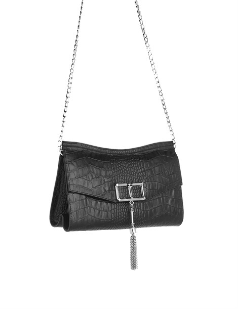 Lauren Women's Shoulder Bag Black Crocodile