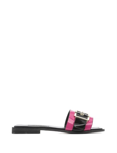 Abella Womens Slipper Fuchsia-Black Patent Leather