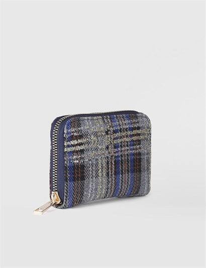 Aciano Grey Checkered Womens Wallet