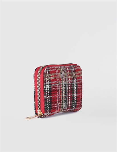 Aciano Red-White Checkered Womens Wallet