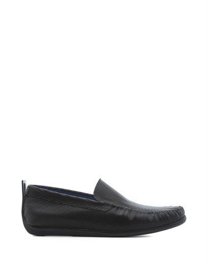 Ailna Mens Moccasin Black Leather