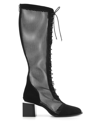 Alea Womens Boot Black Suede-Black Mesh