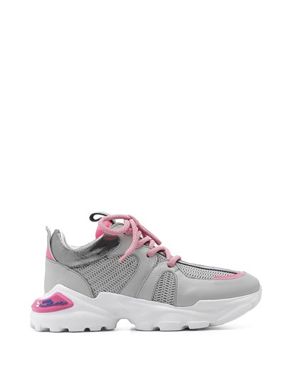 Aleksis Womens Sneaker Grey - Pink Leather
