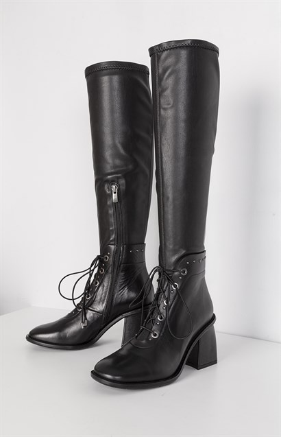 Alla Womens High Boot Black Leather