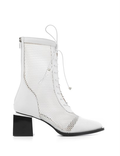 Alvena Womens Boot White Leather-White Mesh