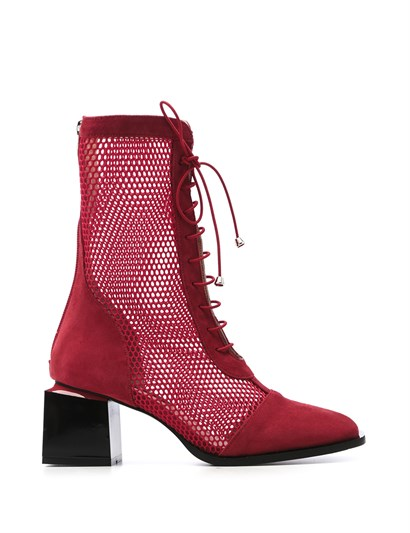 Alvena Womens Boot Red Leather-Red Mesh