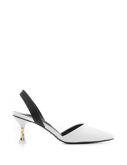 Ameli Womens Sandal White Leather-Black Leather
