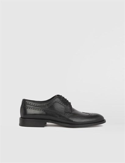 Andrea Black Leather Mens Derby Shoe