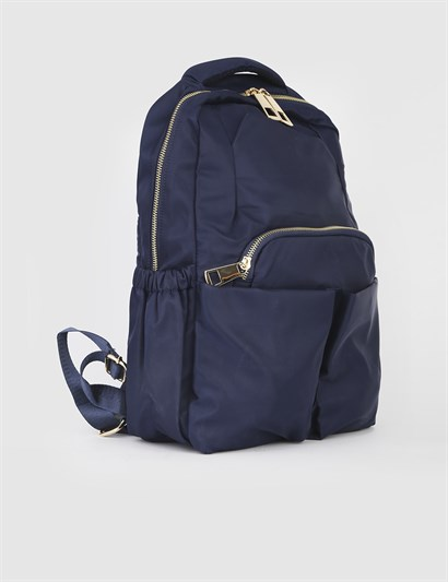 Avaro Navy Blue Satin Unisex Backpack
