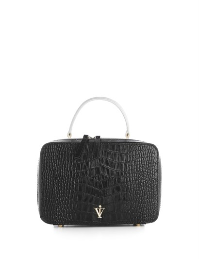 Bartin Womens Shoulder Bag Black-White Crocodile