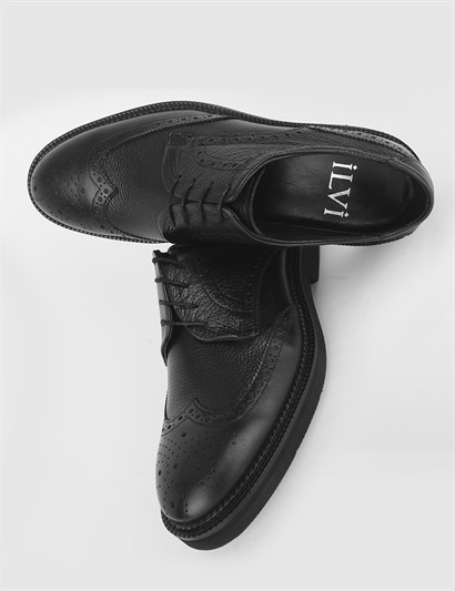 Bels Black Leather Mens Classic Shoe
