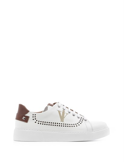 Benıto Mens Sneaker White -Saddle Brown