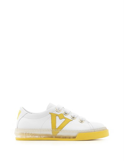 Bereza Womens Sneaker White Leather - Yellow