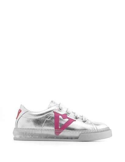 Bereza Womens Sneaker Silver - Fuchsia Leather