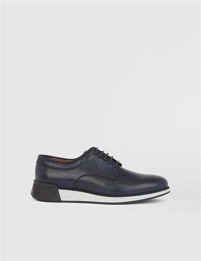 Blain Navy Blue Leather Mens Daily Shoe