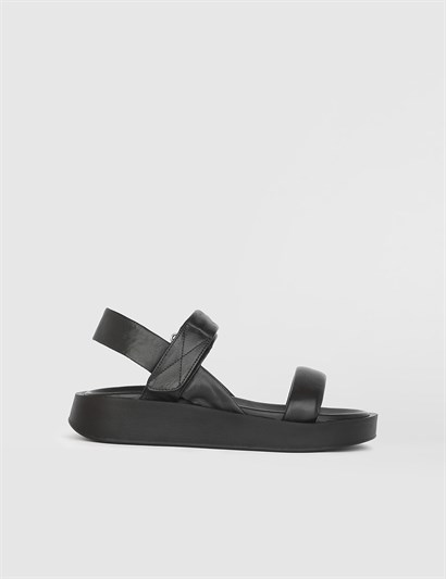 Bulka Black Leather Womens Sandal