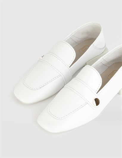 Bunny White Leather Womens Loafer