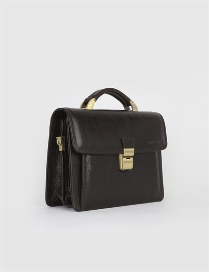Business Brown Leather Mens Briefcase