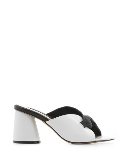 Camilia Womens Slipper Black-White Leather