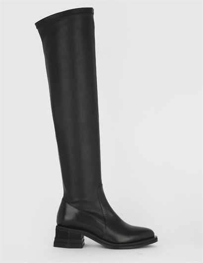 Capuera Black Leather Stretch Womens High Boot