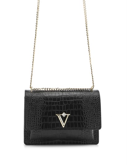 Carissa Womens Shoulder Bag Black Crocodile