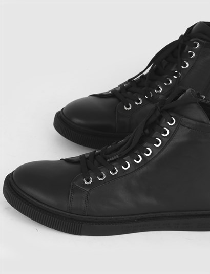 Cinar Black Leather Mens Boot