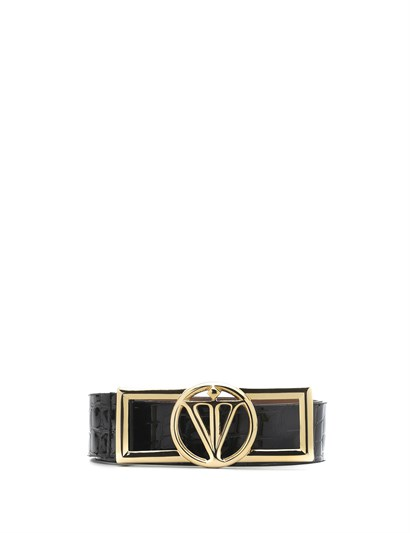 Cleo Womens Belt Black Patent Leather Print