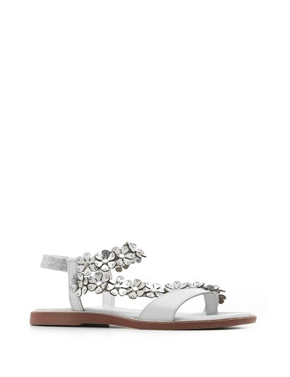Com Women's Sandal White-Silver Leather