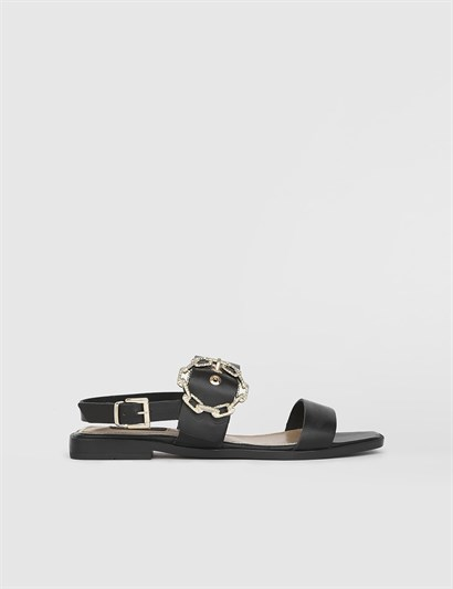 Dabria Black Leather Womens Sandal
