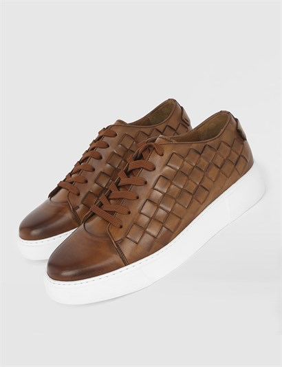 Davy Saddle Brown Leather Mens Sneaker