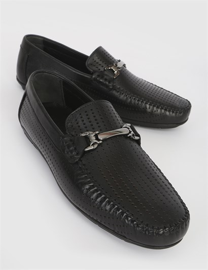 Delfo Black Leather Mens Moccasin