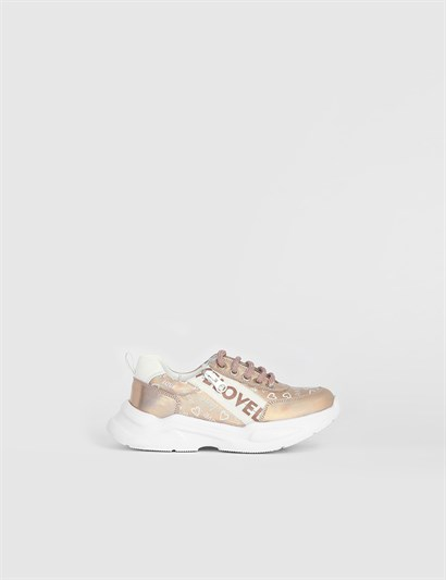 Devana Powder Pink Leather Girls Sneaker