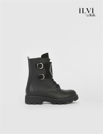 Diamo Black Leather Girls Boot