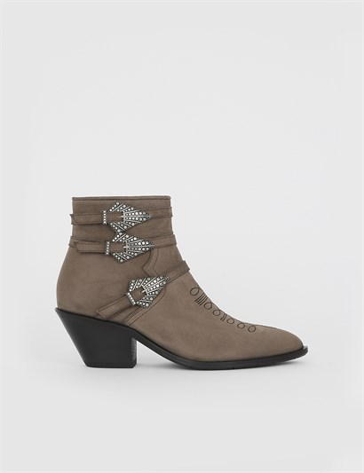 Dong Mink Nubuck Womens Heeled Boot