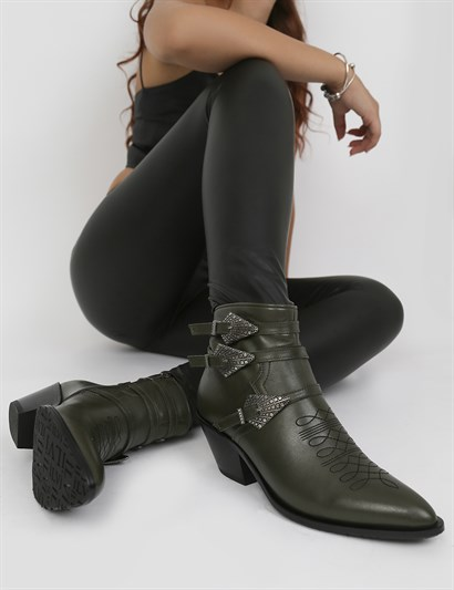Dong Green Leather Women's Heeled Boot