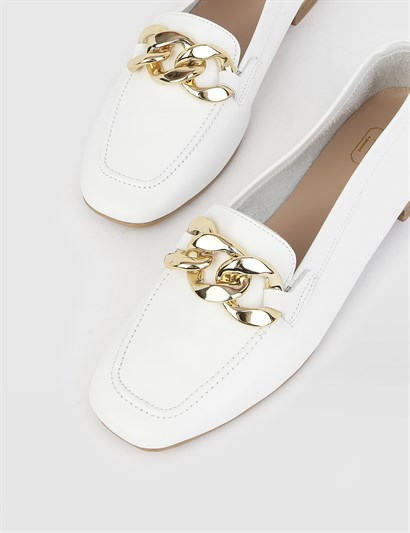 Dreyk White Leather Womens Loafer