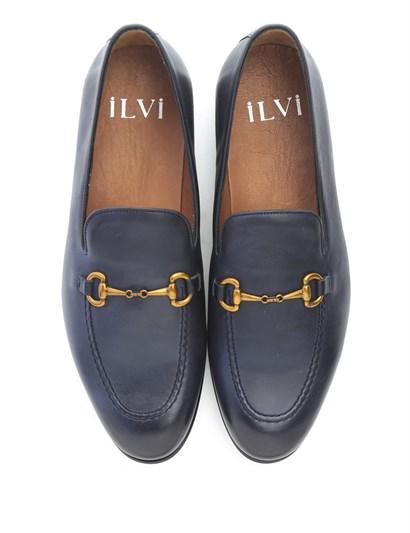 Drugi Men's Moccasin Navy Blue Leather