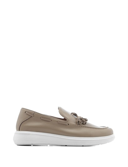Edie Mens Moccasin Beige Leather