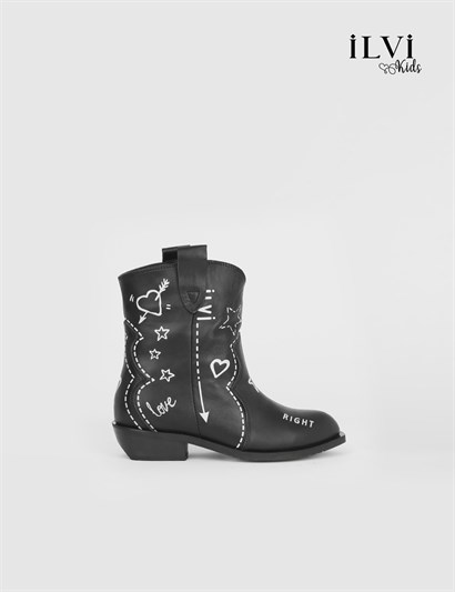 Elina Black Leather Girls Boot