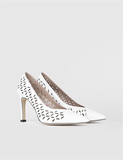 Ella White Leather Womens Stiletto