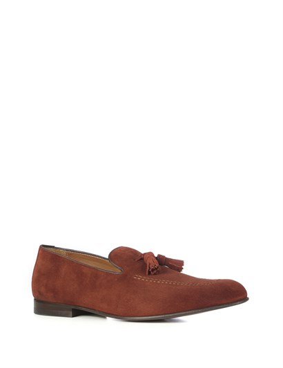 Evian Mens Moccasin Reddish Brown Suede