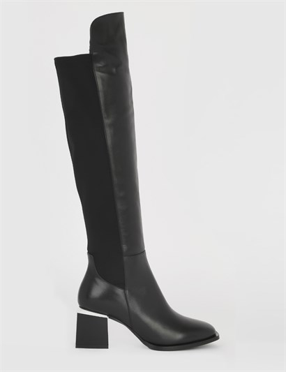Fale Black Leather Womens Heeled High Boot