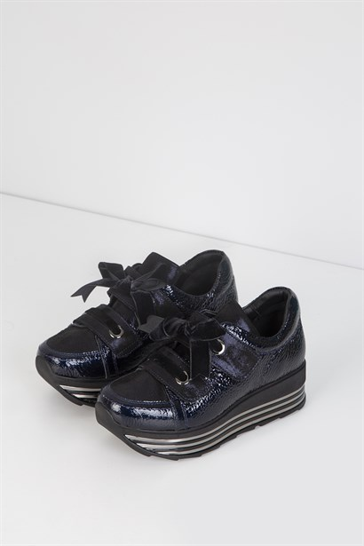 Fie Womens Sneaker Navy Blue Patent Leather