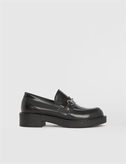 Firedi Black Florentic Leather Womens Loafer