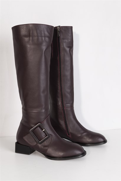 Flatey Womens High Boot Bordeaux Leather