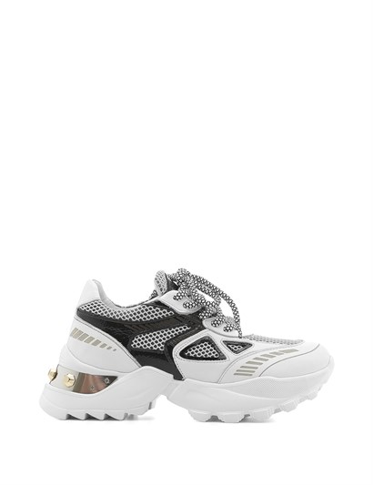 Fora Womens Sneaker White Leather - Black Patent Leather