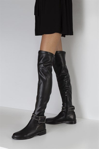 Funny Womens High Boot Black Leather Stretch