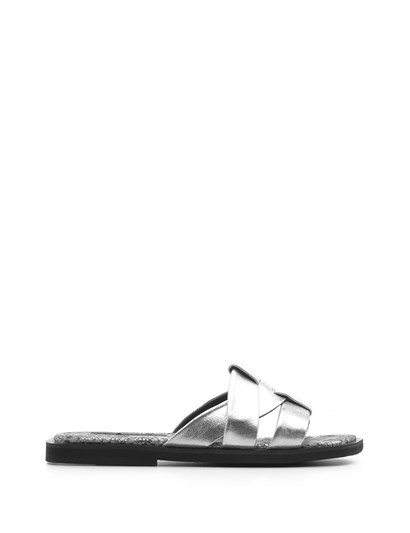 Geft Womens Slipper Metallic Silver-Silver Snake