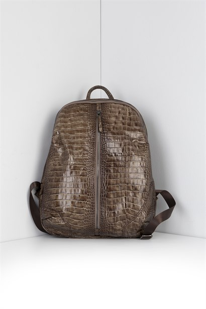 Gektor Unisex Backpack Mink Brown Crocodile