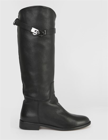 Gela Black Floater Leather Womens High Boot